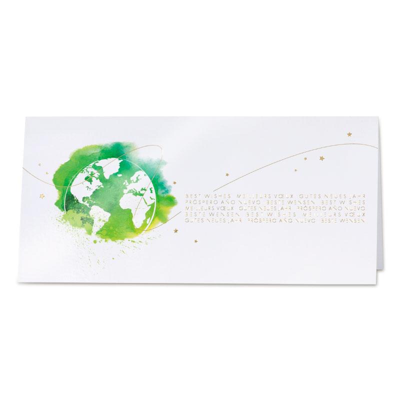 Afbeelding van Glanzende nieuwjaarskaart groene planeet