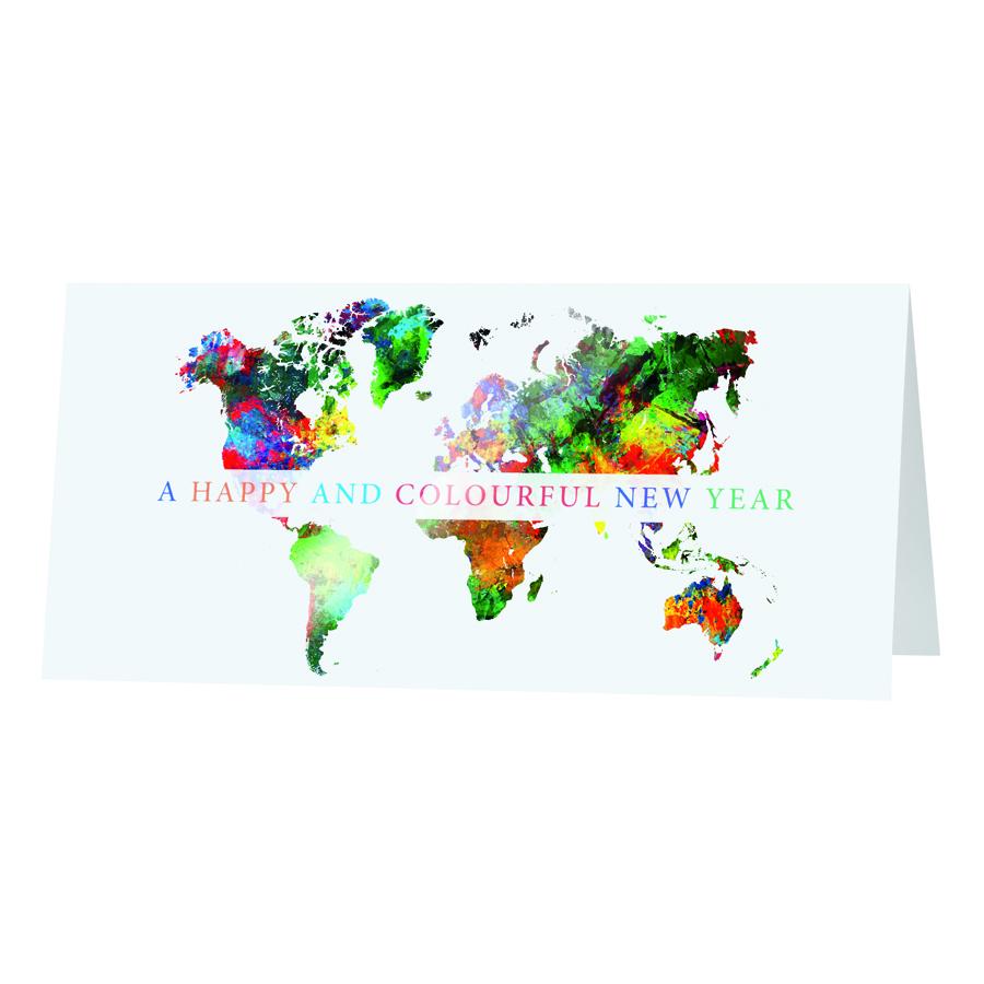 Afbeelding van Internationale nieuwjaarskaart met kleurrijke werelddelen