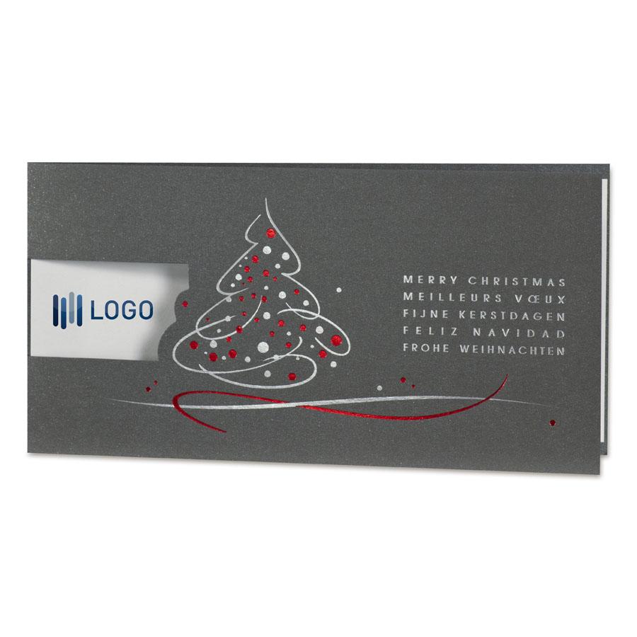 Afbeelding van Zakelijke antraciet kerstkaart met kerstboom