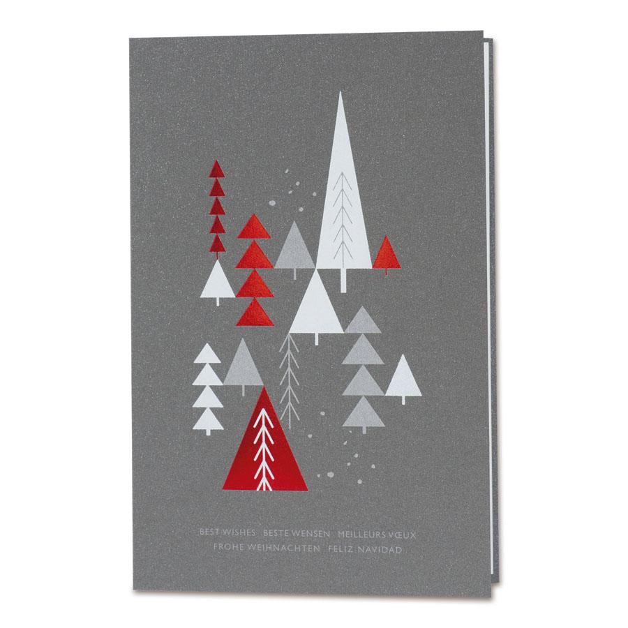 Afbeelding van Zakelijke antracietkaart met kerstbomen
