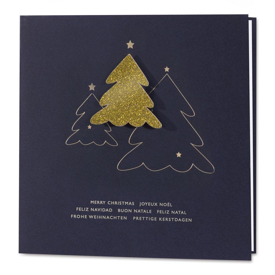 Afbeelding van Zakelijke blauwe kerstkaart met gouden opplakkerstboom
