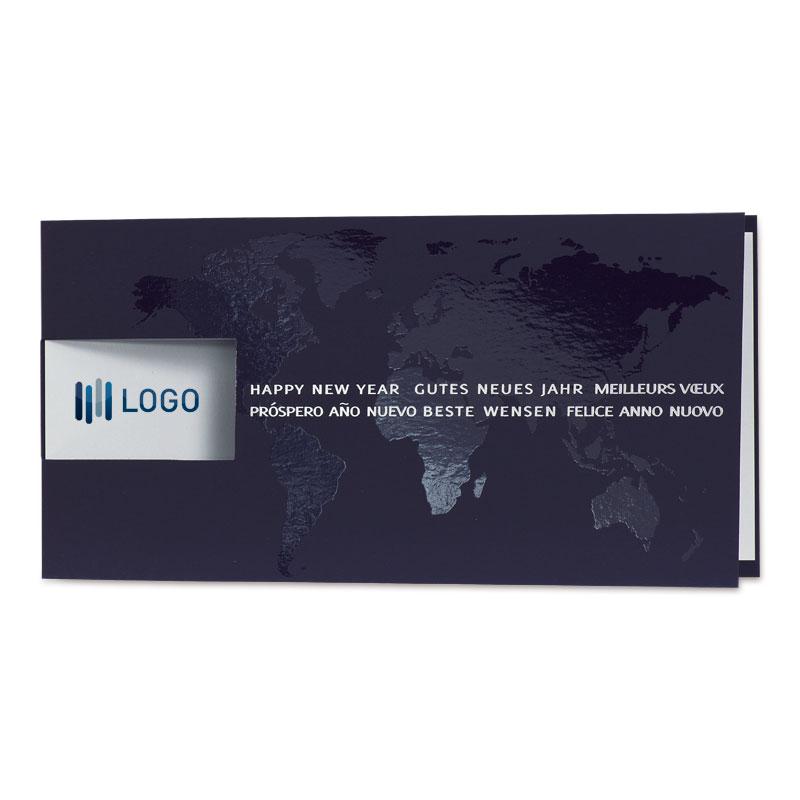 Afbeelding van Zakelijke blauwe kerstkaart met wereldkaart