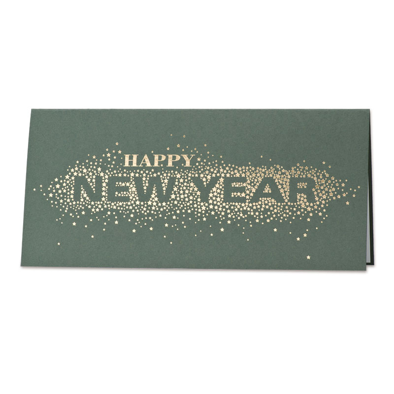 Afbeelding van Zakelijke groene nieuwjaarskaart Happy New Year