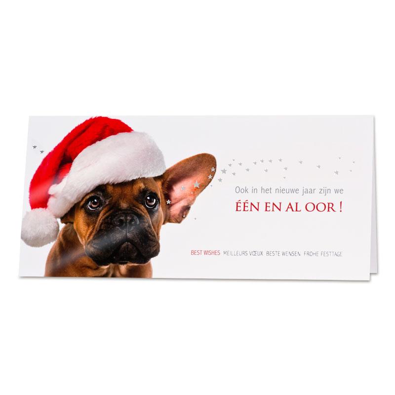 Afbeelding van Zakelijke humoristische kerstkaart hond met kerstmuts