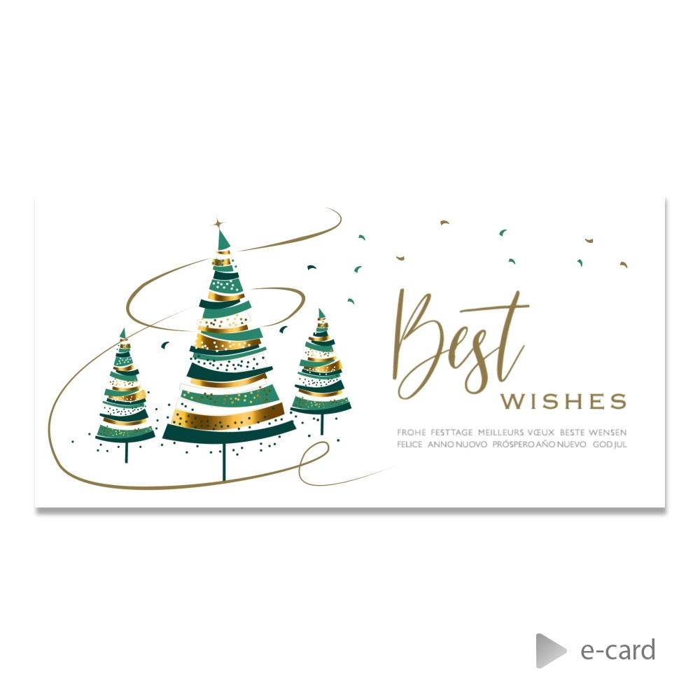 Afbeelding van E-card met kerstboompjes in groen en goud