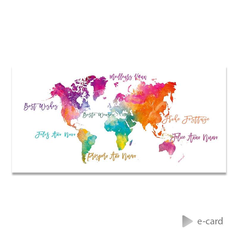 Afbeelding van Zakelijke e-card kleurrijke werelddelen