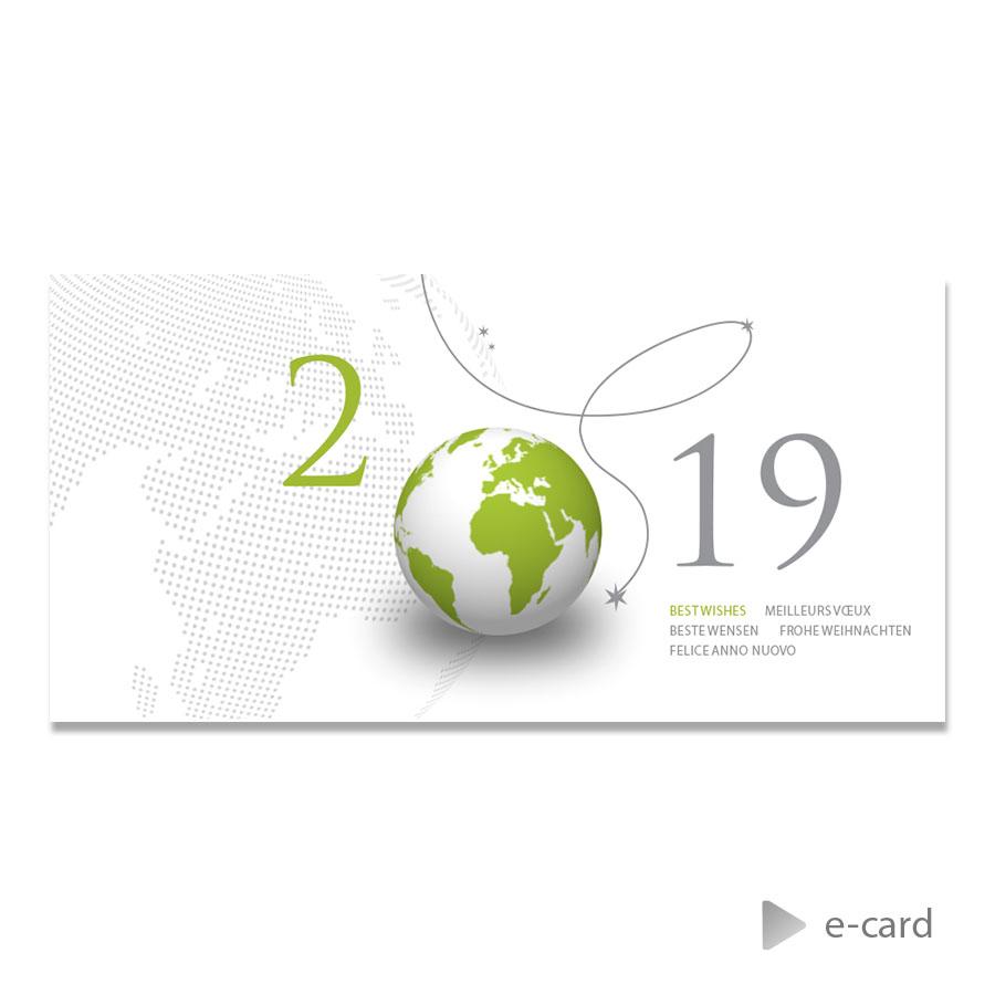 Afbeelding van Zakelijke e-card met groene wereldbol